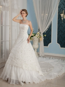 Ruffled Layers Cathedral Train Bridal Wedding Dress Beaded