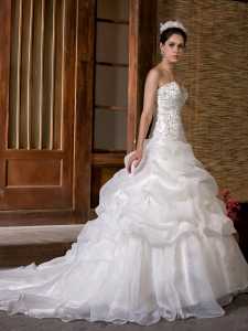 Pick-ups Wedding Dress Beading Sweetheart Sweep Train
