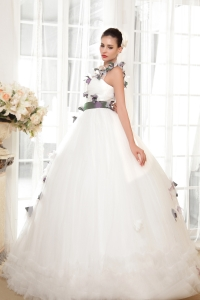 One Shoulder Ball Gown Wedding Dress Tulle Handle Flowers