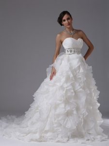 Ruffled Layers Ruched Beading Wedding Dress Bridal Gowns