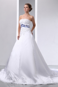 Satin and Lace Appliques Wedding Dress Strapless Brush Train
