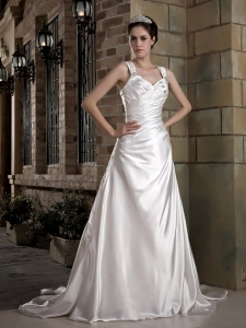 Straps Wedding Dress Chapel Train Taffeta Ruch and Appliques