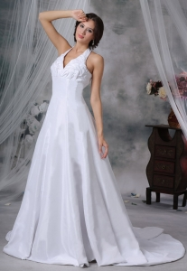 Halter Pick-ups Bridal Gowns Wedding Dress Chapel Train