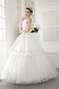 Ivory V-neck Floor-length Organza Beading and Ruch Wedding Gown