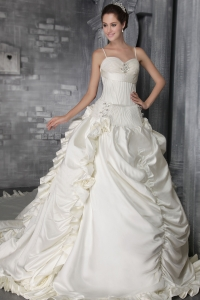 Ivory Strap cathedral Train Taffeta Beading Wedding Gowns