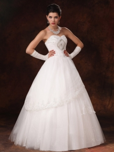 Lace Sweetheart A-line Beaded Organza Wedding Dress