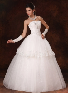 Hottest Lace Beaded Sweetheart Church Wedding Dress Customize