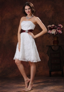 Lace Short Bridal Wedding Dress With Wine Red Belt