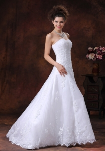 Lace Sweetheart A-Line Brush Train Beading Taffeta Wedding Dress
