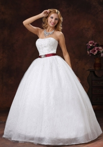 Colored Sash Lace Beading Ball Gown Wedding Dresses