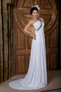 One Shoulder Appliques Wedding Dress Ruching Train Chiffon