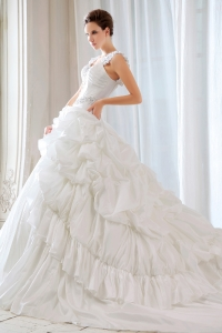 Appliques Straps Beaded Wedding Dress Court Train Taffeta