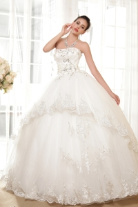 Ball Gown Wedding Dress Strapless Floor-length Tulle Appliques
