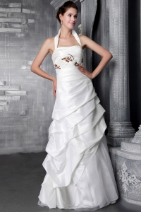 Halter Top Appliques Wedding Gown Bridal Dresses