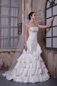 A-line Brush Train Taffeta Ruffled Layers Wedding Dress Appliques