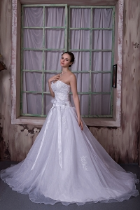 Sweetheart Chapel Train Taffeta and Organza Wedding Dress Bowknot