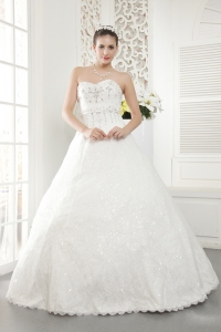 New Sweetheart Floor-length Lace Beading Wedding Dress