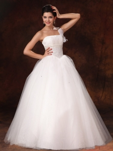 Hottest Wedding Dress One Shoulder Organza Bowknot Beaded