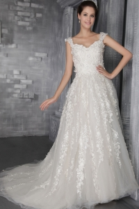 Appliques Straps Court Train Wedding Dresses Tulle
