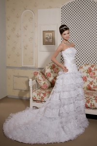 Organza and Lace Sash Wedding Dress Perfect A-line Strapless