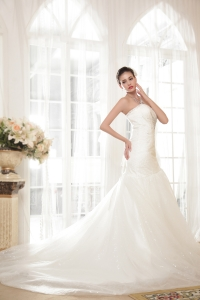 Mermaid Sweetheart Chapel Train Organza Sequins Wedding Dress