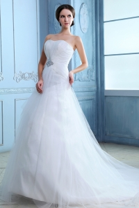 Pretty Court Train Tulle White 2013 Wedding Dress Beading