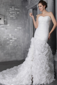 Organza Pleats Bridal Wedding Dress Layers Chapel Train
