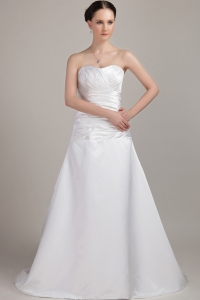 Taffeta Ruch and Pleat Bridal Gown Sweetheart Brush Train