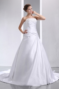 Strapless Chapel Train Taffeta Appliques and Ruch Wedding Gown