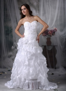 Ruffled Layers Wedding Bridal Gown Brush Appliques
