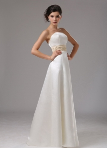 Ruching Colored Sash Bridal Dress for Outdoor Weddings