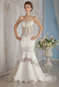 Mermaid Appliques Court Train Lace Beading Wedding Dress