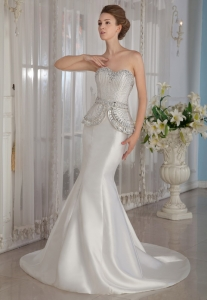 Mermaid Beaded Wedding Dress Sweetheart Court Train