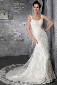 Elegant Mermaid Strap Court Train Lace Appliques Wedding Dress