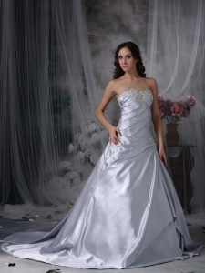 Silver Ruch Wedding Bridal Dress Beading Court Train