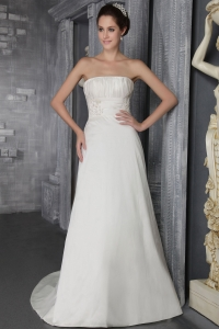 Appliques Ruched Wedding Dress Strapless Brush Train