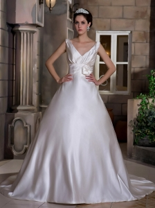 V-neck Chapel Train Satin Hand Made Flower Wedding Dress