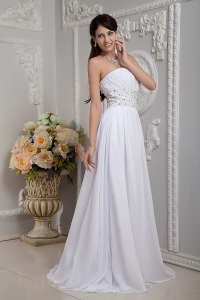 Ruched Beading Church Wedding Dresses Brush Train Chiffon