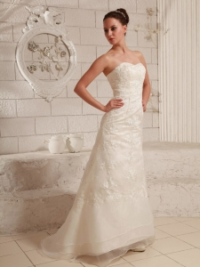 Lace and Organza Wedding Dress Custom Made Column Brush Train