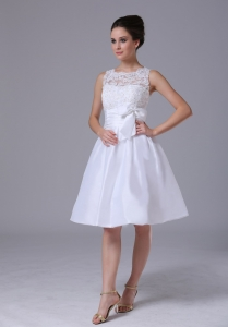 Lace Scoop Bowknot Beach Wedding Dress Knee-length