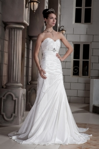 Beaded Ruch Wedding Dress for Brides Sweetheart Train