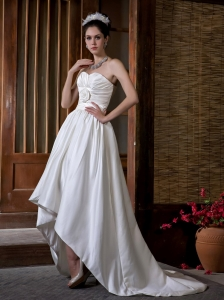 Sweetheart High-low Court Train Wedding Dress Hand Made Flowers