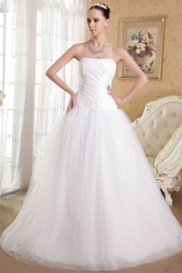 White Strapless Floor-length Tulle and Organza Bridal Dress