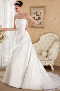 Strapless Court Train Embroidery Organza Beading Wedding Gown