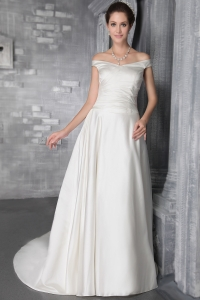 Off The Shoulder Court Train Satin Pleat Bridal Gowns