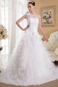One Shoulder Chapel Train Ruffles Hand Made Flowers Wedding Gown