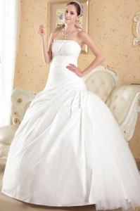 Chapel Train Wedding Dress Ruched Ball Gown Beading