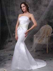 Mermaid Colored Belt Strapless Satin Train Wedding Dress
