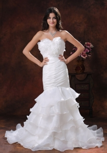 Mermaid Flowers Wedding Bridal Dress Ruffled Layers