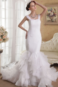 Mermaid Straps Chapel Train Satin and Organza Ruffles Wedding Dress